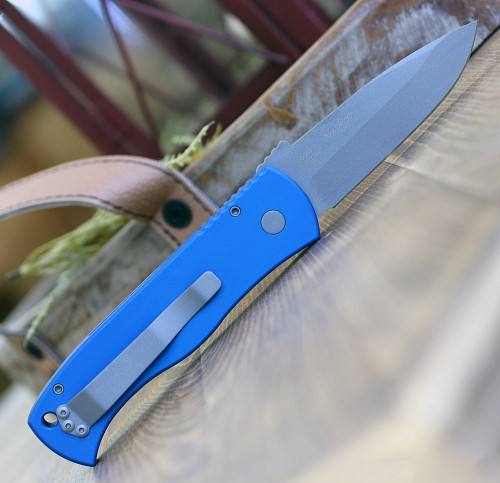 "ProTech E7A1-Blue Emerson CQC7 Spear Point, 3.25"" 154cm Stonewash Plain Blade, Blue Aluminum Handle"