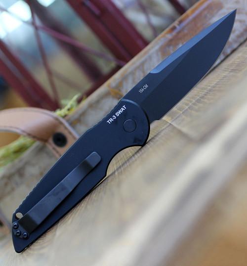 "Pro-Tech Swat Tactical Response 3, 3.5"" 154CM  Black Blade, 6061-T6 Aluminum Handle"