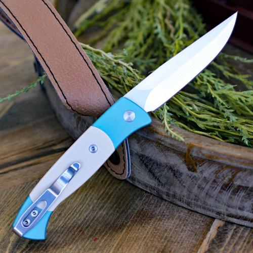 """Pro-Tech 1251-TEAL Brend 2,  2.90"""" 154 CM Satin Blade, Teal Aluminum w/Ivory Micarta Inlays"""