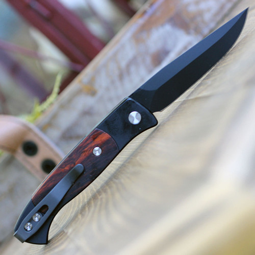 """Pro-Tech 1207-C Small Brend 2 Automatic Knife, 2.9"""" 154CM Black Clip Point Blade, Black Aluminum Handle w/ Cocobolo Inlays"""