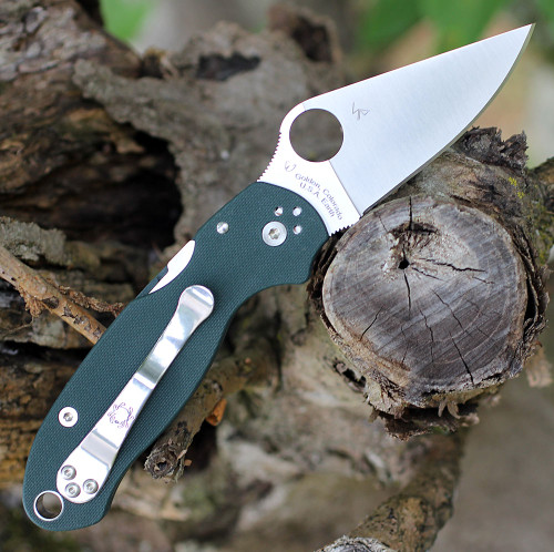 """Spyderco Para 3 C223GPGR, 2.92"""" CTS 204P Satin Plain Blade, Forest Green G-10 Handle, Pre-Order"""