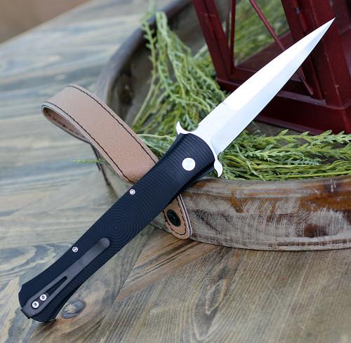 """Protech 1925 Large Don, 4.5"""" 154cm Spare Point Satin Blade, Black Aluminum 3D Handle"""