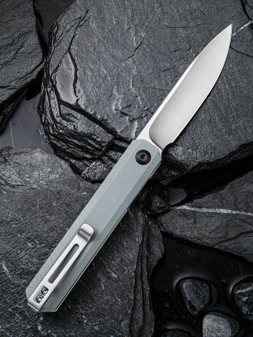 "Civivi Exarch C2003A, 3.22"" D2 Steel Satin Plain Blade, Gray G-10 Handle"