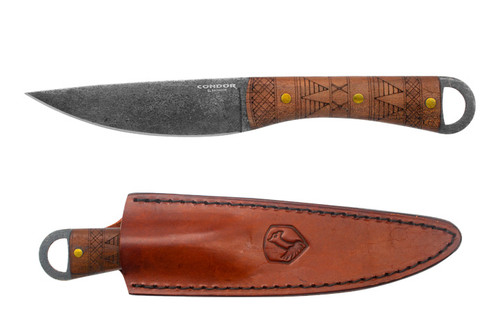 "Condor Lost Roman Fixed Blade,  CTK1029-5HC 4.9"", 1075 High Carbon Steel, Walnut Handle,  Leather Sheath"
