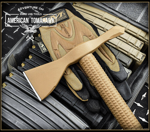 "American Tomahawk Model 1, 14.12"" Overall Length, Coyote Brown Nylon  Handle"