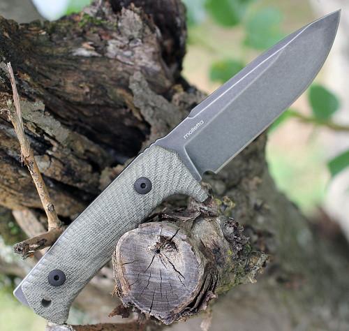 "LionSteel T5BCVG, 5.04"" Niolox Black Stonewash Blade, Green Canvas Micarta Handle"