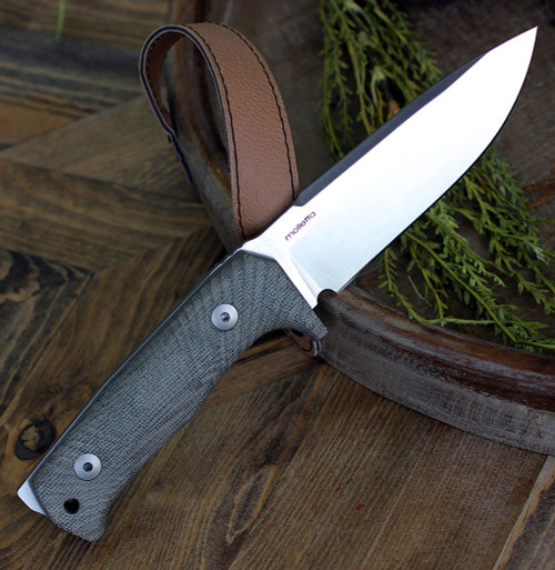"LionSteel T5CVG, 5.04"" Niolox Satin Blade, Green Canvas Micarta Handle"