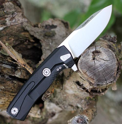 """LionSteel ROK Aluminum-Black ROKABS, 3.27"""" M390 Stain Blade, Aluminum Handle"""