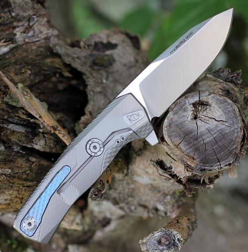 """LionSteel ROK Titanium Gray ROKG, 3.27"""" M390 Stain Blade, Titanium Handle"""