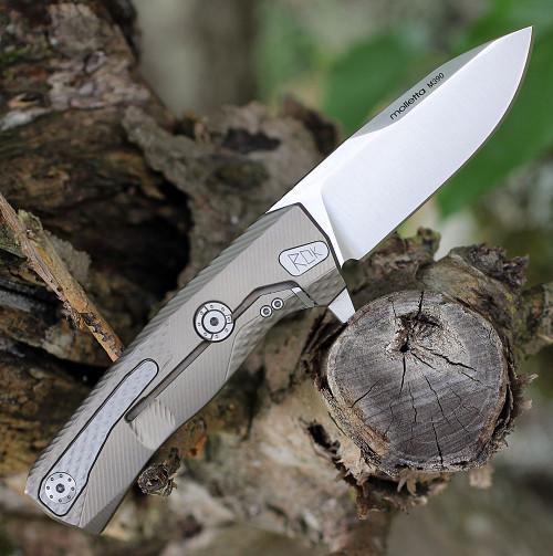 """LionSteel ROK Titanium Bronze ROKB, 3.27"""" M390 Stain Blade, Titanium Handle"""