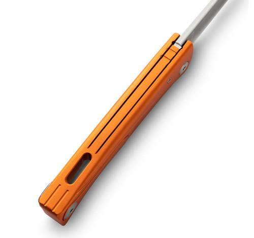 """LionSteel Thrill Slip Joint Aluminum Orange TLAOS, 31.5"""" M390 Satin Blade, Aluminum Handle"""