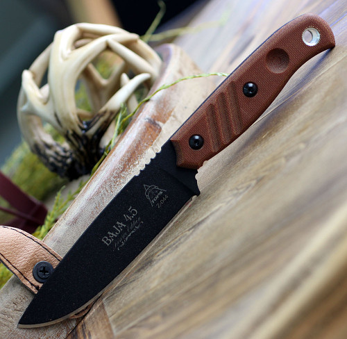 "TOPS Knives TPBAJA-4.5R Baja 4.5 Reserve Edition 4.88"" 1095 RC Black Traction Coating, Tan Canvas Micarta Handles, Brown Leather Sheath"