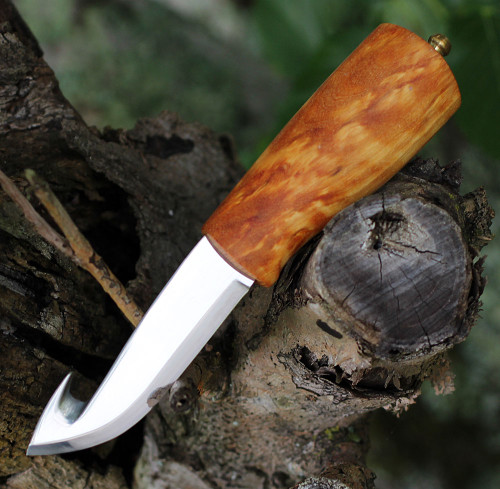Helle No. 53 Veidemann Specialty Knife, Triple Laminated SS, Curly Birch