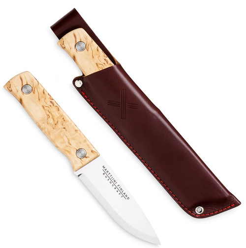 "Marttiini Tundra Bushcraft 352010, 4.33"" Stainlees Steel Plain Blade, Natural Waxed Curly Birch Handle"