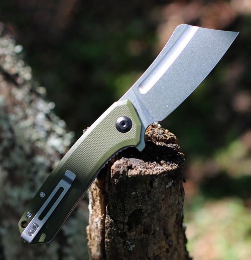 "CIVIVI Mini Bullmastiff C2004A,  2.97"" 9Cr18MoV Stonewashed Cleaver Plain Blade, OD Green G-10 Handles"