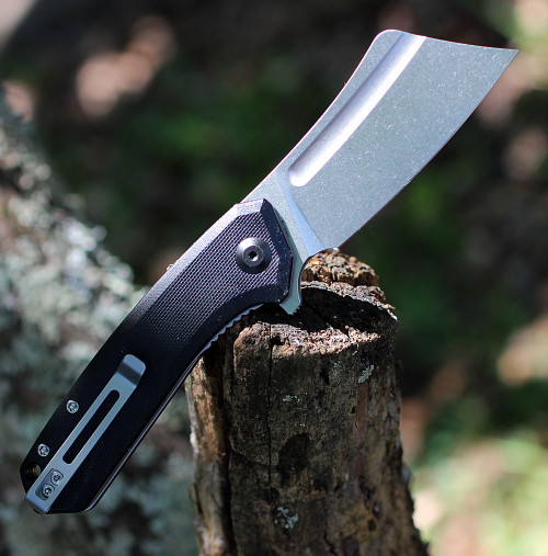 "CIVIVI Mini Bullmastiff C2004C,  2.97"" 9Cr18MoV Stonewashed Cleaver Plain Blade, Black G-10 Handles"