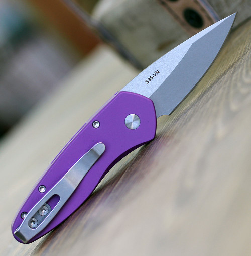"ProTech 2905 Sprint, 2"" S35VN Spear Point Stonewash Blade, Purple"