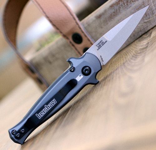 Kershaw Launch 12 7125GRY, 2.5 CPM154 Stonewash Blade, Gray Aluminum w/Carbon Fiber Insert Handle