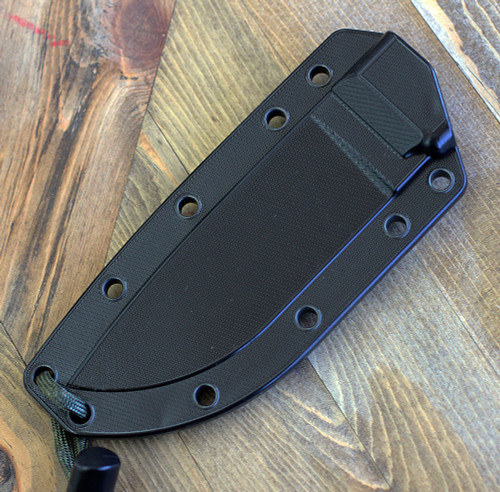 ESEE Knives, 4P-CP-MB, Sharpened Top Edge, Plain Edge, Micarta Handle, Black Molly Back, Black Molded Sheath and Clip Plate