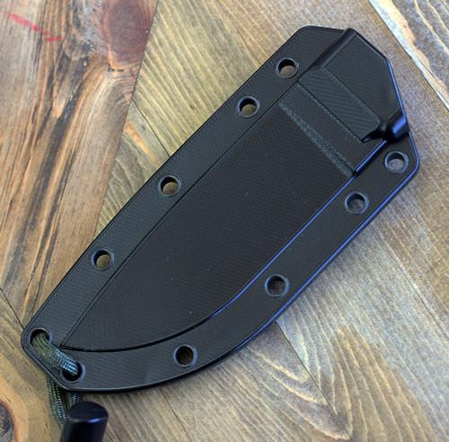 ESEE Knives, 4P-CP-MB, Sharpened Top Edge, Plain Edge, Micarta Handle, Black Molly Back, Black Molded Sheath and Clip Plate