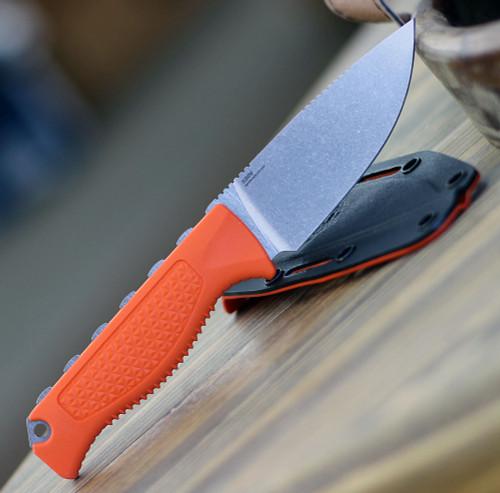 "Benchmade 15006 Steep Country, 3.54"" CPM-S30V Satin Drop Point Blade, Orange Santoprene Handle"