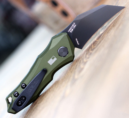 "Kershaw 7350OLBLK Launch 10, 1.9"" CPM 154 Black Plain Blade, Olive Green Aluminum Handle"