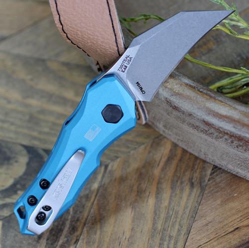 "Kershaw 7350TEALLaunch 10, 1.9"" CPM 154 Black Plain Blade, Teal Aluminum Handle"