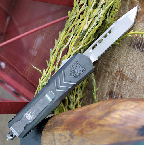 "CobraTec Gray FS-X OTF Knife CTKSGRYFS-XSTS, 2.75"" D2 Steel Tanto Serrated Blade, Gray Aluminum Handle"