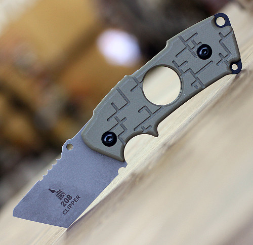 "Tops Knives 208 Clipper 2CP-01, 2.25"" CPM S35Vn RC 58-60 Tanto  Plain Blade, OD Green G10 Handle"