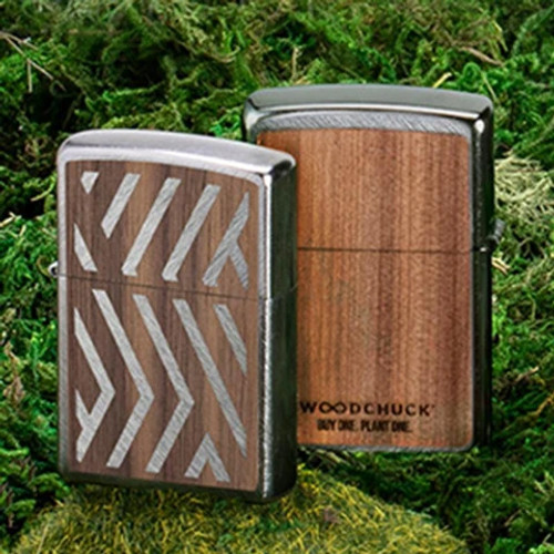 Zippo 29902 Woodchuck USA Brushed Chrome w/Herringbone Sweep Walnut Emblem Attached