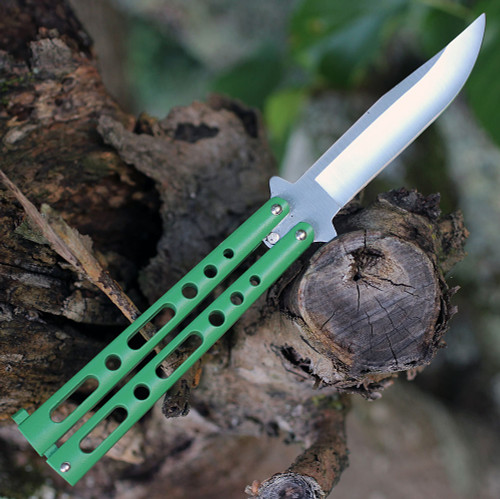 "BenchMark Balisong 010, 4.0"" Stainless Steel Clip Point Plain Blade, Green Handle"