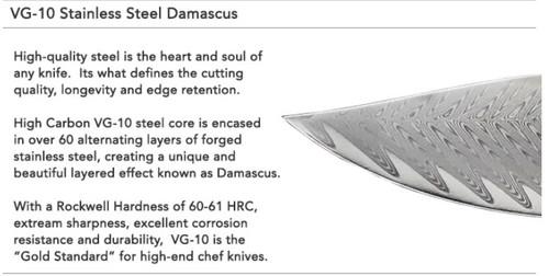 "Mattia Borrani Cutlery 087 Bowie Chef Damascus, 8.2"" Clad Damascus w/VG-10 Core Blade, Micarta Handle"