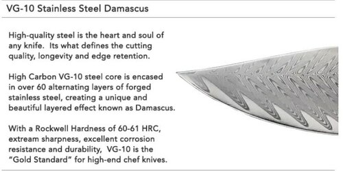 "Mattia Borrani Cutlery 087A Bowie Chef Damascus, 7"" Clad Damascus w/VG-10 Core Blade, Micarta Handle"