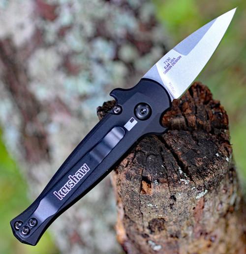 "Kershaw 7130 Launch 12CA Mini Stiletto, 1.9 "" CPM154 Stonewashed Plain Blade, Black Aluminum w/ Carbon Fiber Insert Handle"