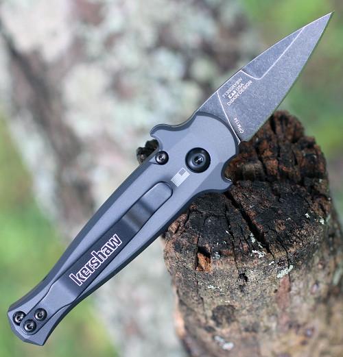 "Kershaw 7130 Launch 12CA Mini Stiletto, 1.9 "" CPM154 Black Stonewashed Plain Blade, Grey Aluminum w/ Carbon Fiber Insert Handle"