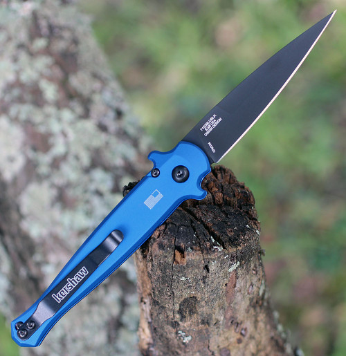 """Kershaw 7150BLUBLK Launch 8, 3.5"""" CPM 154 Black Plain Blade, Blue Aluminum/Carbon Fiber Insert Handle"""