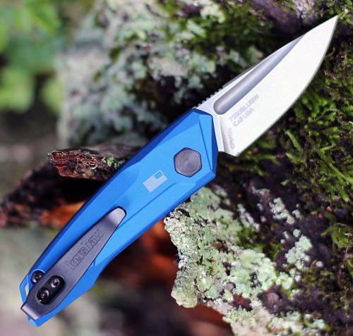 """Kershaw 7250 Launch 9, 1.8"""" CPM 154 Stonewashed Plain Blade, Blue  Aluminum Handle"""