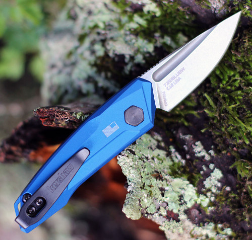 "Kershaw 7250 Launch 9, 1.8"" CPM 154 Stonewashed Plain Blade, Blue  Aluminum Handle"