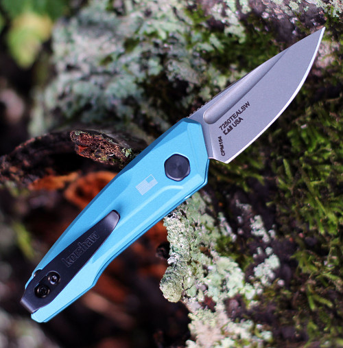 "Kershaw 7250 Launch 9, 1.8"" CPM 154 Stonewashed Plain Blade, Teal Aluminum Handle"
