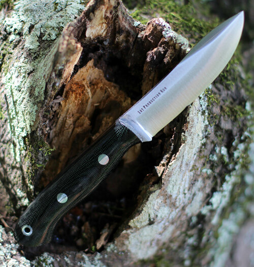 "Bark River Knives Mini Aurora Hunter BA06028MBC, 3.71"" CPM 3V Plain Blade, Black Canvas Micarta Handle"