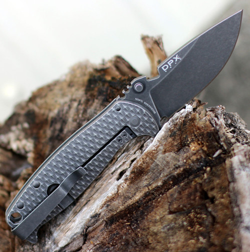 "DPx Gear Hest/F Leggaro Grey Flipper, 3.15"" Matte Black PVD, Stonewashed M390 Plain Blade, 3D Titanium Handle"