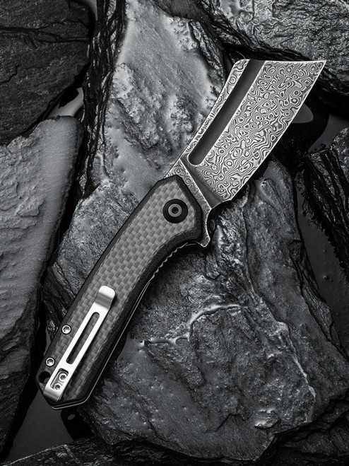 "Civivi Mini Bullmastiff C2004DS-1, 2.97"" Damascus Steel Blade, Twill Carbon Fiber Overlay on G10 Handles"
