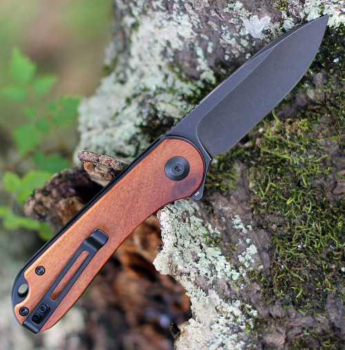"Civivi Elementum Wood C907U, 2.96"" D2 Black Stonewashed Plain Blade,  Cuibourtia Wood Handle Handle"