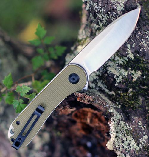 "Civivi Elementum Green Micarta C907S, 2.96"" D2  Satin Plain Blade,  Green Micarta Handle"