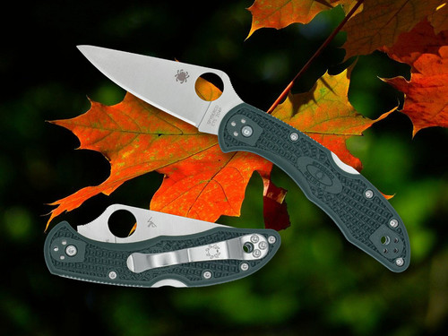 """Spyderco Delica Full Flat Grind C11FPDGR, 2.88"""" CTS 204P SS Satin Plain Blade, Forest Green FRN Handle-Limited to 600"""
