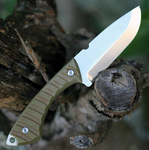 "Lord And Field Frontiersman Survival Knife LOR01, 4.5"" 1095HC Satin Plain Blade, Green Micarta Handle"
