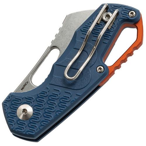 MKM - Maniago Knife Makers Isonzo Stonewashed Cleaver Blade, Blue FRN Handle, Orange Aluminium Spacer