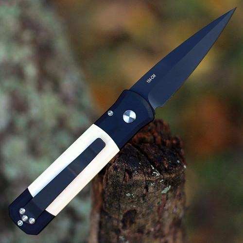 "ProTech 752 Godson, 3.15"" 154cm DLC Black Plain Blade, Black Aluminum Handle w/  Ivory Micarta Handle"