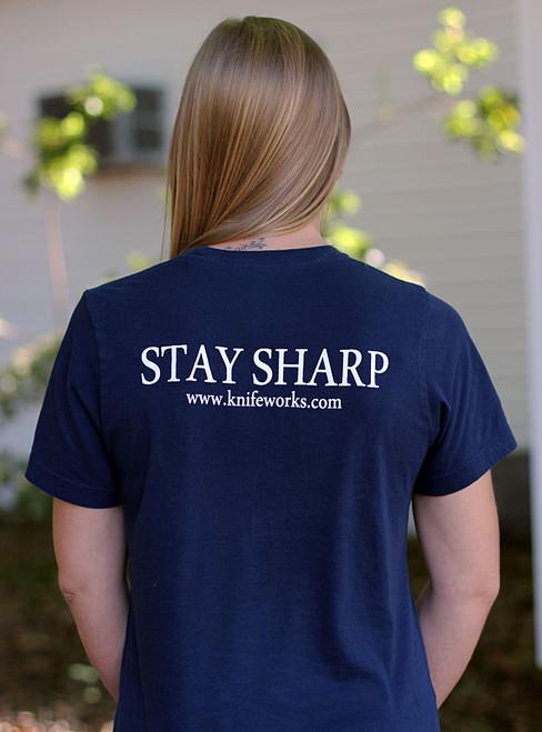 """Knifeworks Heather Navy T-Shirt """"Stay Sharp"""", Unisex-Large"""