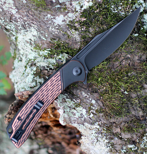 "Civivi Dogma Linerlock C2014B, 3.46"""" D2 Black Stonewashed Blade, Black/Copper Handle"